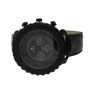 All Black Bling Hip Hop Watch Leather Band