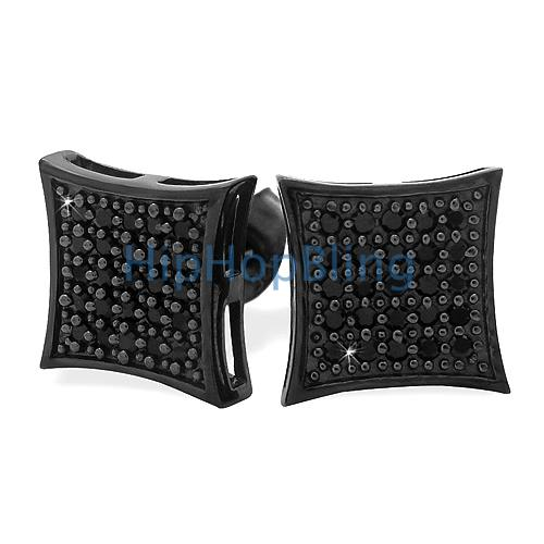 All Black Medium Kite Silver CZ Micro Pave Iced Out Earrings