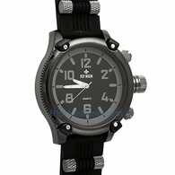 All Black Rubber Mens Bars Watch