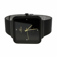 All Black Square Mesh Band Watch