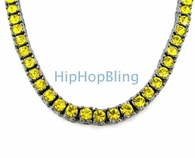 All Canary Iced Out on Black 1 Row Chain