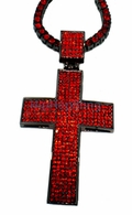 All Red Black Bling Bling Cross & 1 Row Chain Combo