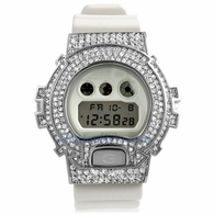 All White CZ Custom G Shock Watch Bling