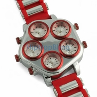 All Working 5 Time Zone Hip Hop Watch Red & Silver