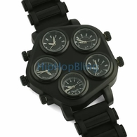 All Working 5 Timezone Watch All Black