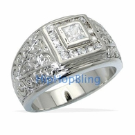 Antique Princess Cut Mens CZ Rhodium Plated Bling Bling Ring