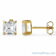 Asscher Cut CZ Stud Earrings Gold .925 Silver