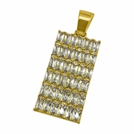 Baguette CZ Bling Bling Gold Dog Tag