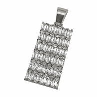 Baguette CZ Bling Bling Rhodium Dog Tag