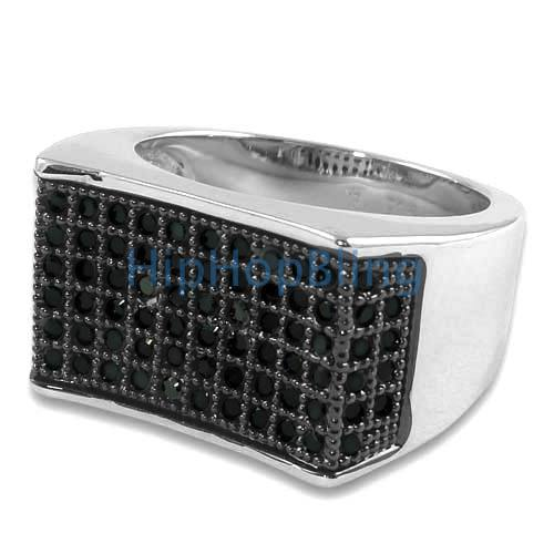 Ballers Black CZ Micro Pave Silver Bling Bling Ring