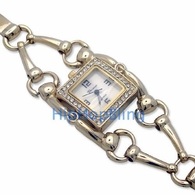 Bar Swivel Link Gold Rhinestone Ladies Watch