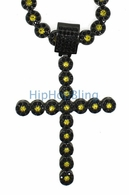 Black and Yellow Cluster Chain Iced Out Cross Combo