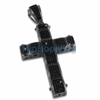 Black Bubble Iced Out CZ Micro Pave Cross