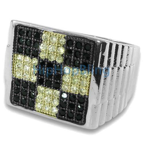Black Canary Block CZ .25 Silver Micro Pave Ring