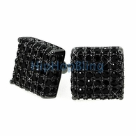 Black CZ Custom 3D Cube Bling Earrings .925 Silver