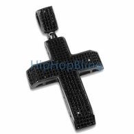 Black Diamond CZ Cross Tapered Bling Bling Pendant