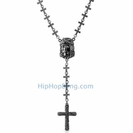 Black Jesus Piece Fully Iced Out Cross Link Rosary Necklace