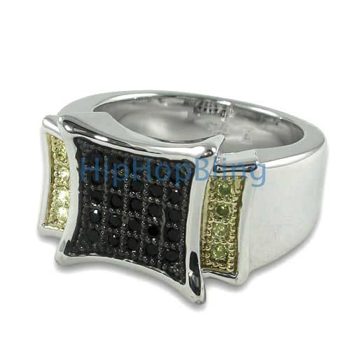 Black Kite Canary CZ Micro Pave Silver Hip Hop Ring