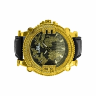Black Map Dial Diamond Super Techno Watch Gold