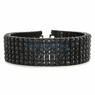 Black on Black 6 Row Black Diamonds Iced Out Bracelet