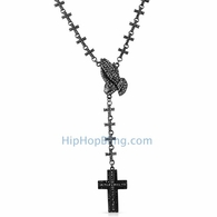 Black Rosary Necklace Praying Hands Totally Iced Out Cross Links