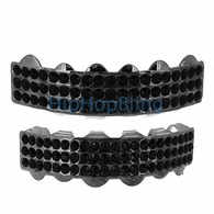 Black Triple Bling Bling Grillz Top & Bottom Combo