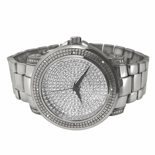 Bling Bling Dial Heavy Silver Hip Hop Watch