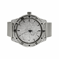 Bling Bling Dial Sport Silver Mesh Band Watch