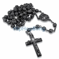 Bling Bling Fully Iced Out Bead Black Rosary Necklace