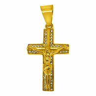Bling Bling Jesus Crucifix Gold Stainless Steel Cross