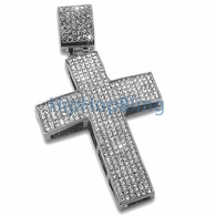 Blizzard Iced Out Cross Rhodium Pendant