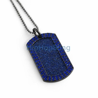 Blue Blizzard Bling Bling Dog Tag & Chain