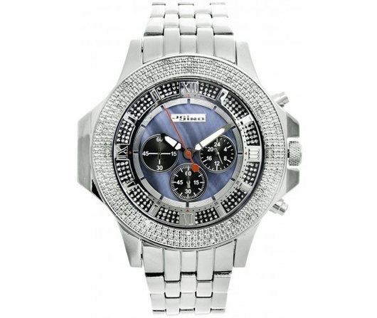 Blue Pearl Dial Sports JoJino Hip Hop Watch .25cttw Diamonds