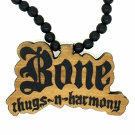 Bone Thugs N Harmony Wooden Pendant & Chain Black
