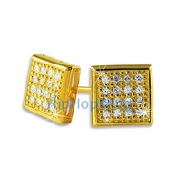 Box 32 Stones Gold Vermeil CZ Micro Pave Bling Earrings .925 Silver
