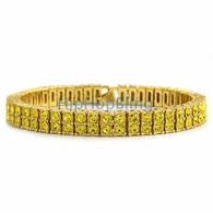 Canary Totally Iced Out 2 Row Bracelet Gold