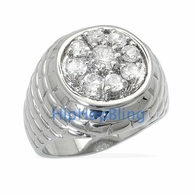 CEO Mens CZ Iced Out Rhodium Plated Hip Hop Ring