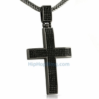 Clean 4 Row Black Bling Bling Cross