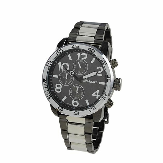 Clean Silver and Black Metal Band Watch