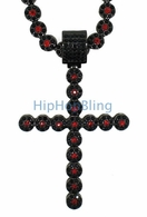 Cluster Chain Bling Bling Cross Red & Black Combo