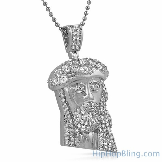 Mini Jesus Pendant with Big Stone Crown
