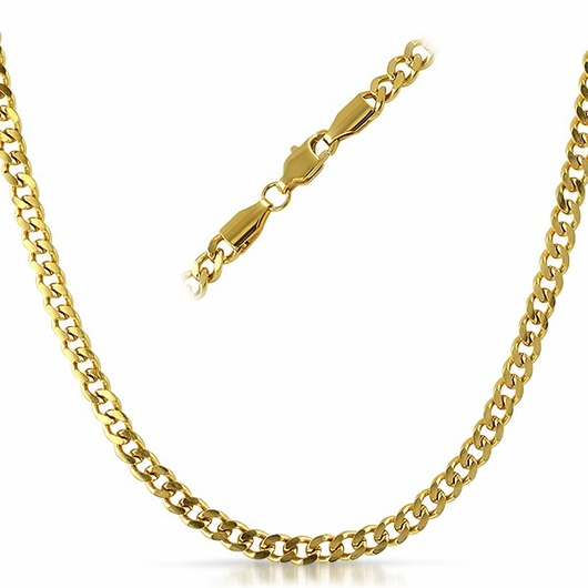 Cuban IP Gold Stainless Steel Chain Necklace 4MM