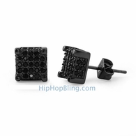 Custom 3D Cube Black Micro Pave CZ Ice Earrings