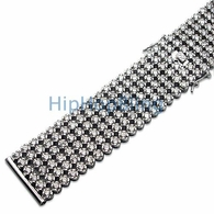 Custom Bling Bling Watch Band 6 Rows CZ Lab Made