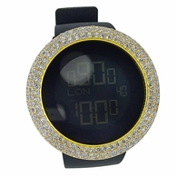 Custom Digital LED Watch with Gold CZ Bezel