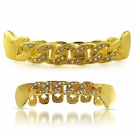 CZ Bling Bling Gold Cuban Grillz Set