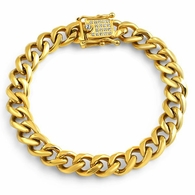 CZ Clasp Gold Stainless Steel 10MM Cuban Bracelet