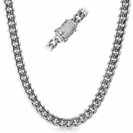 CZ Diamond Lock 10MM Cuban Chain Stainless Steel
