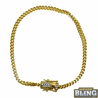 CZ Diamond Lock 2.5MM Gold Steel Franco Bracelet