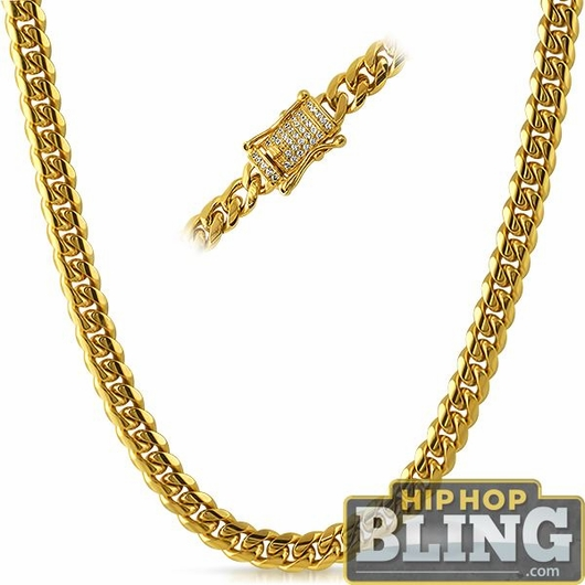 CZ Diamond Lock Cuban Chain 8MM Gold Steel